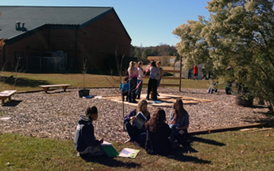 Groups of students use the math garden.