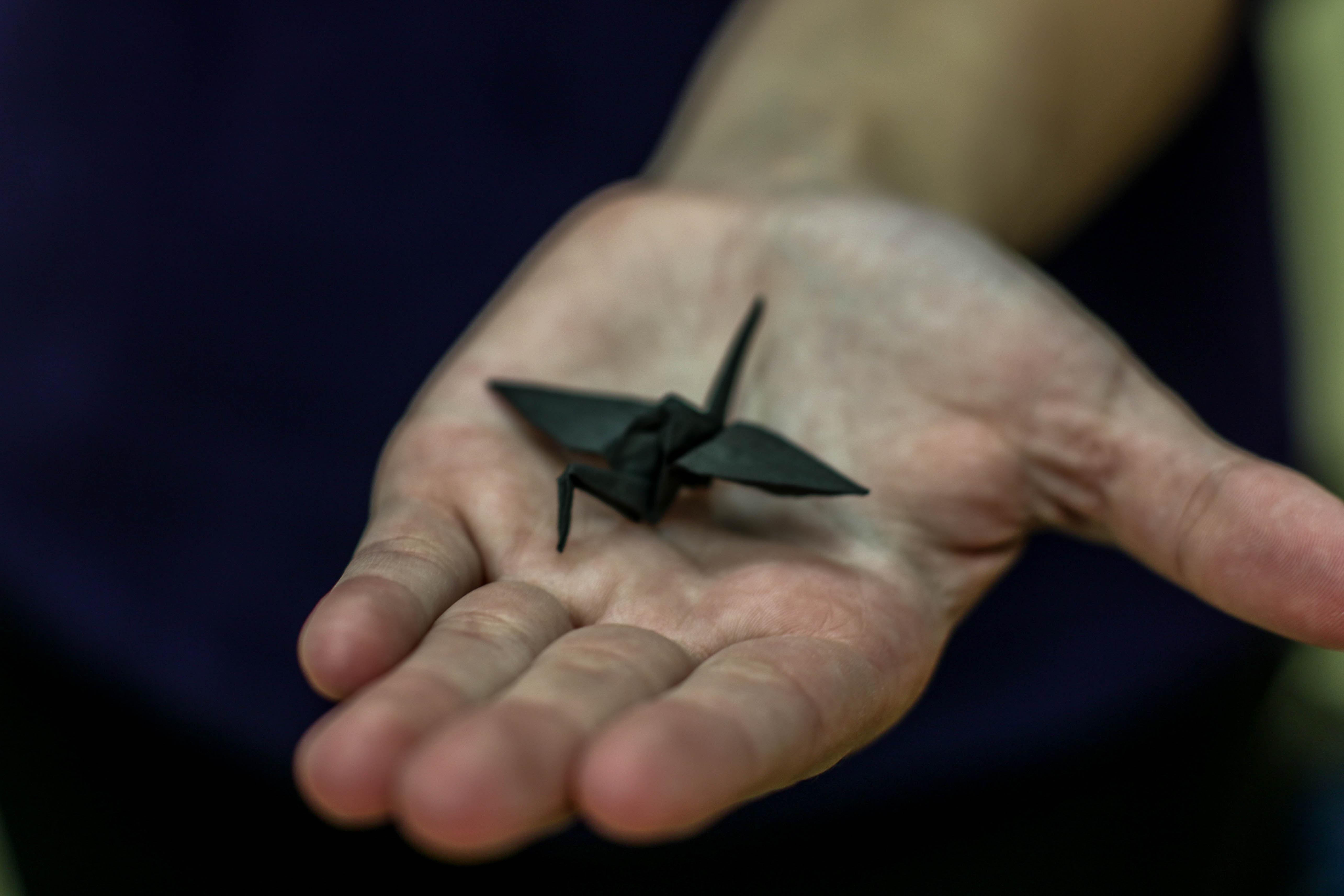 A carbon crane-- Originally folded in cellulose paper and later carbonized at 900°C in an inert atmosphere.