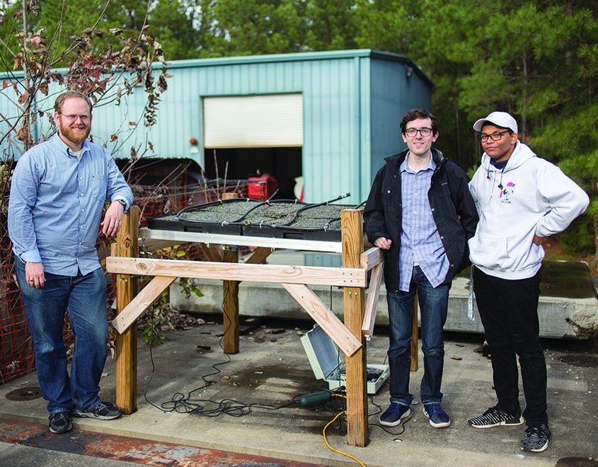 Dr. Martin, Donovan Rice and Patrick Fuller working on the table-top green roof model. Photo by Sarah Stewart
